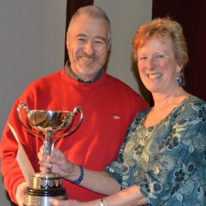 Coordinator Pam Hilleir presents Les Clarke with the award for the Original Playwriting Competition